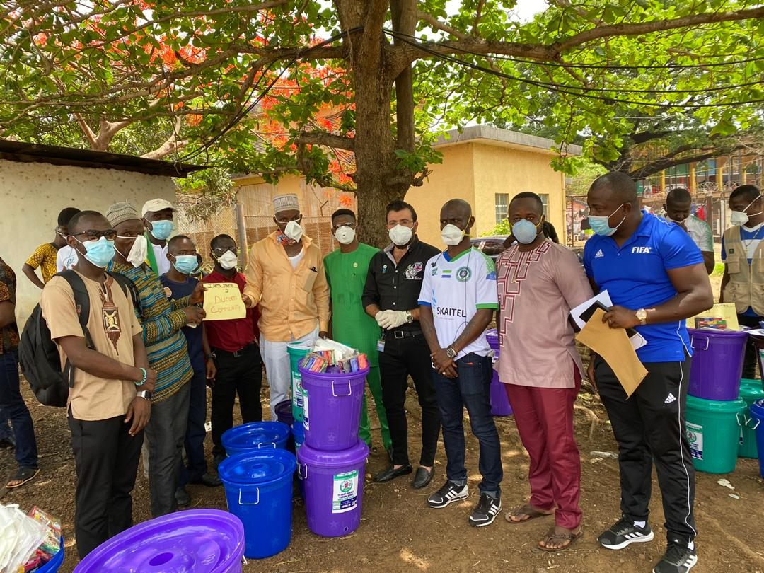 Sierra FC, Universal Human Rights Organization Donate Veronica Buckets to Govt